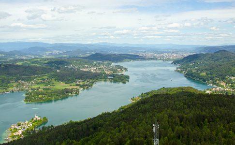 Pyramidenkogel: Aussicht nach Klagenfurt