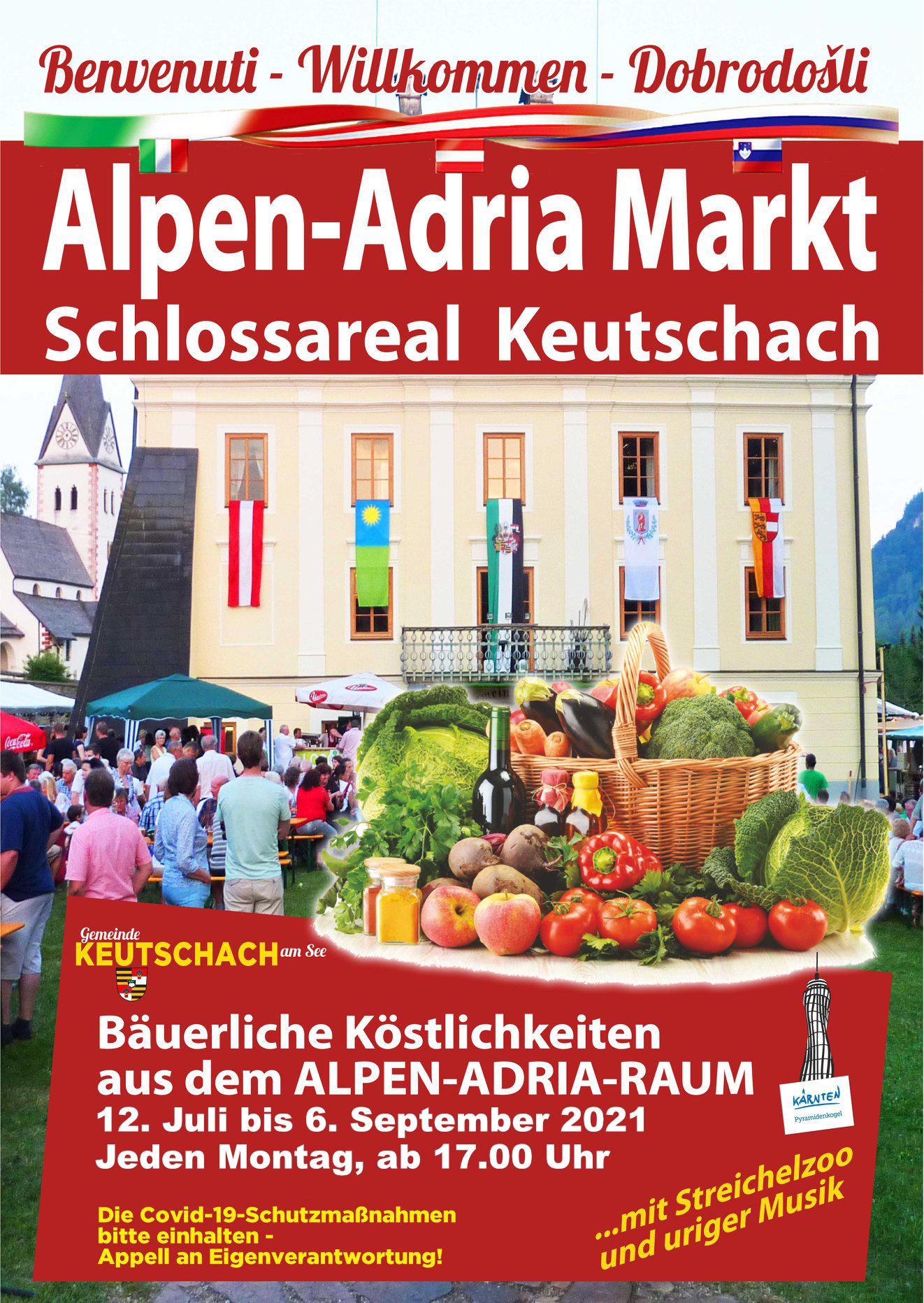 Plakat Alpen-Adria-Markt in Keutschach von 12. Juli bis 6. September jeden Montag ab 17 Uhr